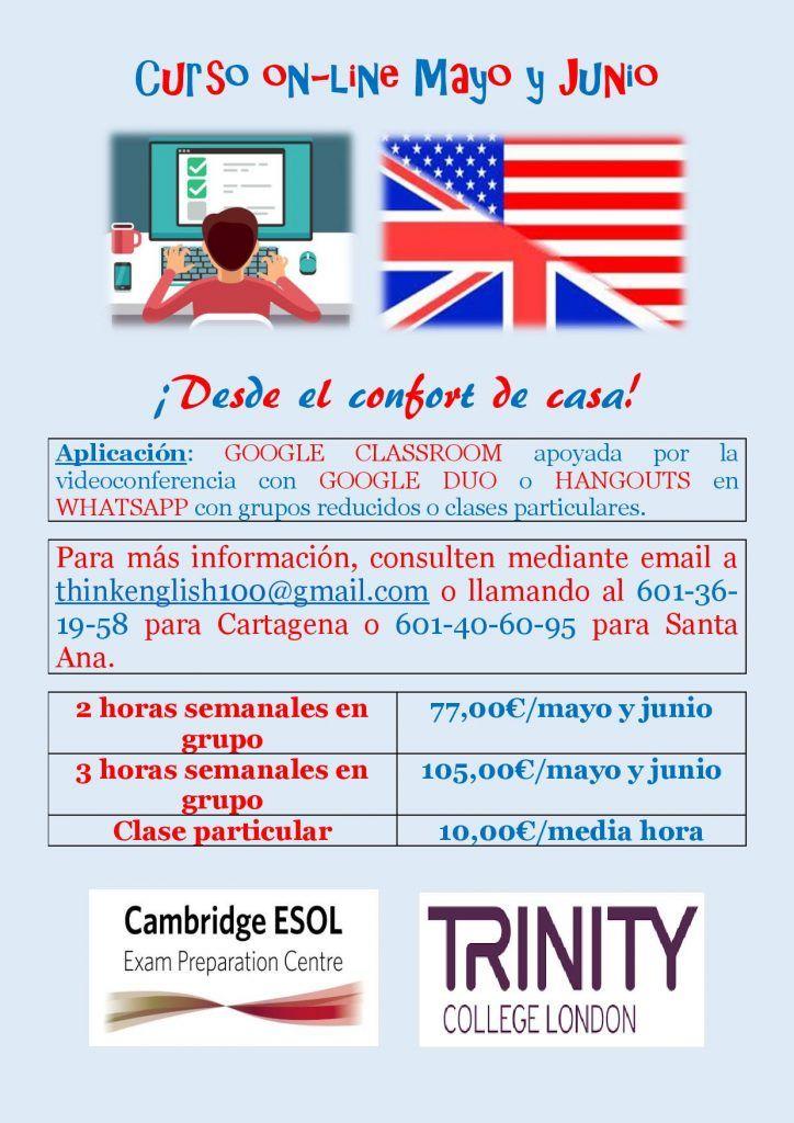 Clases online de inglés mayo y junio